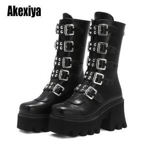 Platform-Boots Gothic Punk Winter Womens Wedges-Shoes Military Zipper PUIMENTIUA Creeper
