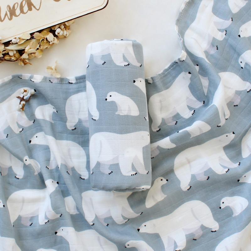 120*120cm Swaddl Baby Swaddle Gauze Muslin Swaddle Wrap Newborn Organic Cotton Bamboo Baby Blanket Muslin