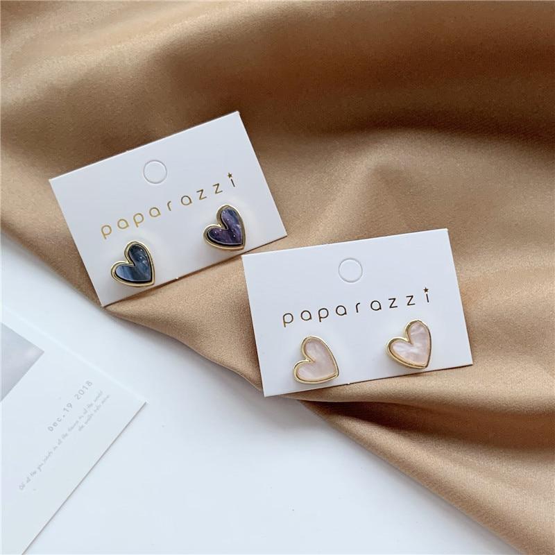 Sweet Acrylic Heart Stud Earrings Delicate Gold Color Mini Ear Studs Trendy Ear Nails For Women Girls Jewelry Gift