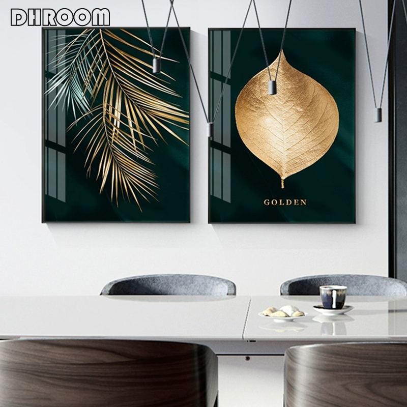 Абстрактные Золотые листья растений, настенный плакат, печать, современный стиль, холст, живопись, искусство, украшение для гостиной, картины, домашний декор