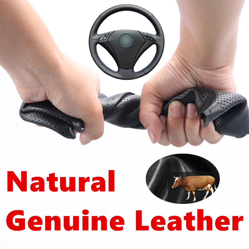 Hand stitched Genuine Calfskin Leather Steering Wheel Cover for <font><b>BMW</b></font> <font><b>E60</b></font> E61 520i 520li 523 523 523li 525 525i 530 530i 535 <font><b>545i</b></font> image