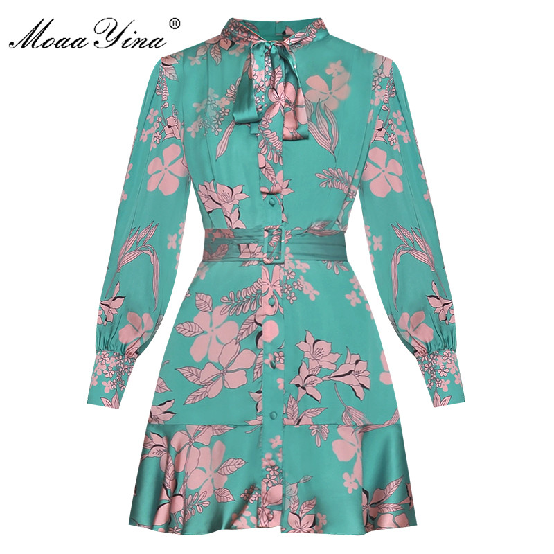 MoaaYina Fashion Designer Runway Dress Spring Autumn Women Dress Floral-Print Lace-Up Mini Dresses