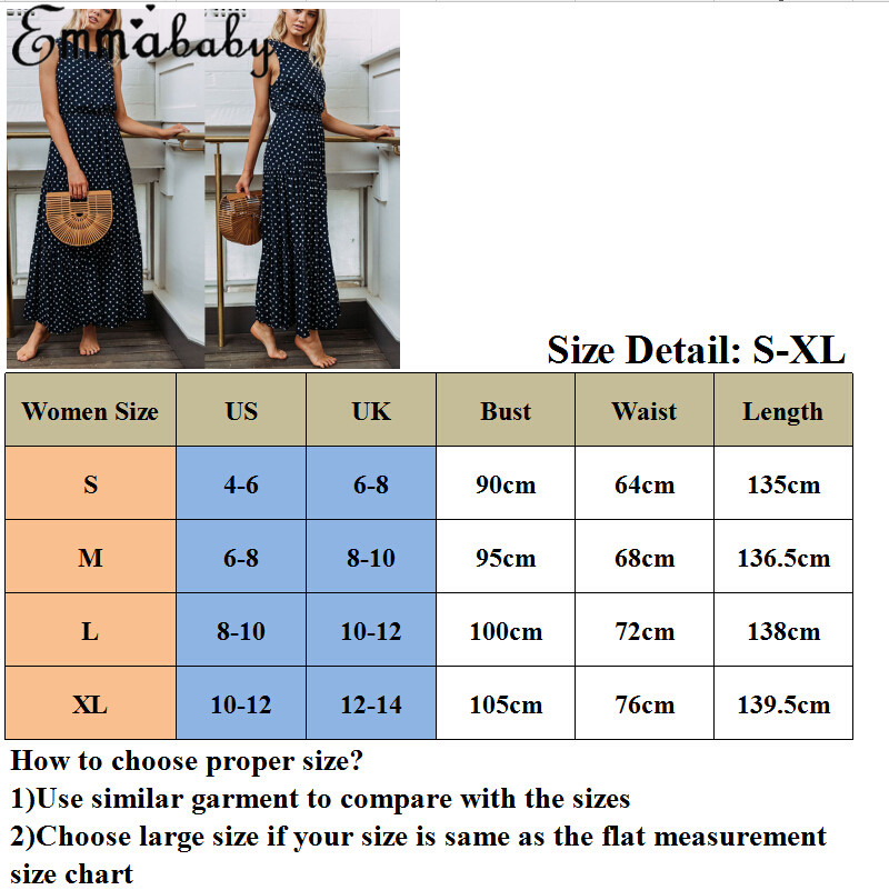 H0d33ffb8d3744e9c92e69ba2cd2ef91dV 2019 Bobo Women Dark Blue Boho Loose Sleeveless Holiday Dot Print Long Maxi Dress Evening Party Beach Dresses Summer Sundress