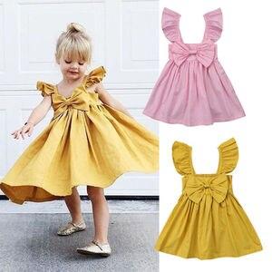 Pudcoco, envío rápido, de 0 a 3 años, niños recién nacidos, niñas pequeñas, vestido con lazo de princesa para verano, ropa informal de fiesta, traje, vestido