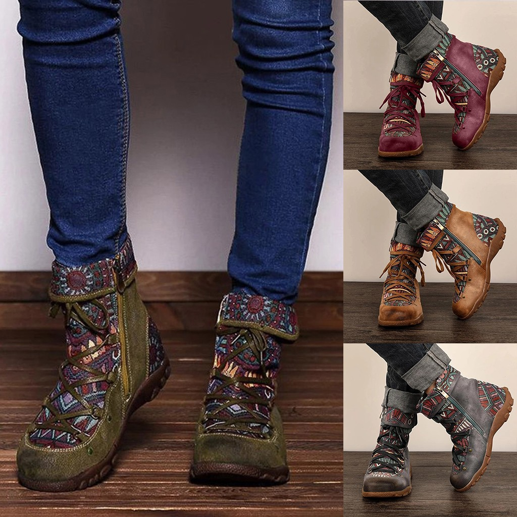 Boho Style Winter Boots Women's Ladies Retro Bohemian Style Ankle Zip Women Flat Heel Round Head Short Boot Booties Casual Shoes