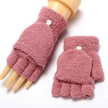 Wool Gift Soft Hand Warmer Flip Thicken Half Finger Mittens Gloves Knitted