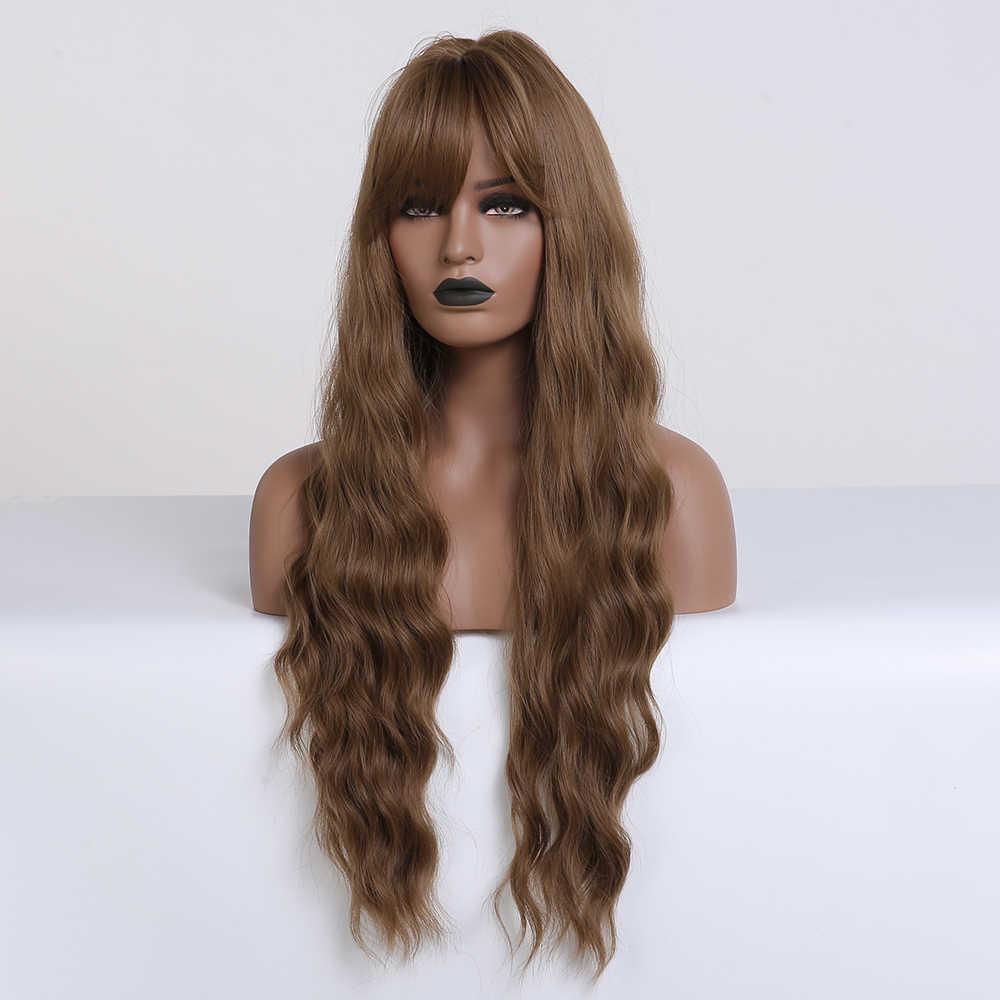 Kecil Lana Panjang Bergelombang Coklat Wig dengan Poni Sintetis Wig untuk WANITA HITAM Tahan Panas Serat Pesta Cosplay Rambut Alami wig