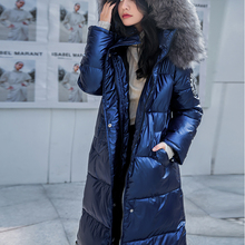 New 2019 Winter Glossy Fur Hooded Parka Women Sustans Pockets A Line Thick X Long Plus Size Solid Jackets Snow Coats Zipper