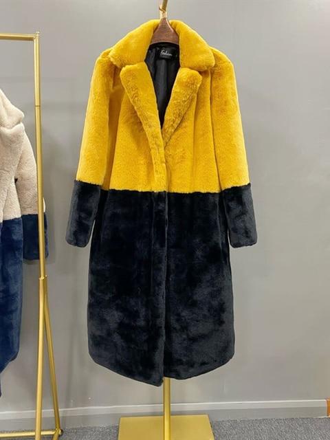 2020 hiver femmes haute qualité Faux lapin fourrure manteau de luxe longue fourrure manteau revers pardessus épais chaud grande taille femelle en peluche manteaux 2