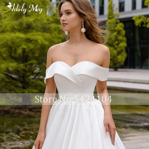 Image 3 - Adoly Mey Romantic Sweetheart Neck Lace Up Bride A Line Wedding Dress 2020 Luxury Beaded Satin Court Train Princess Wedding Gown