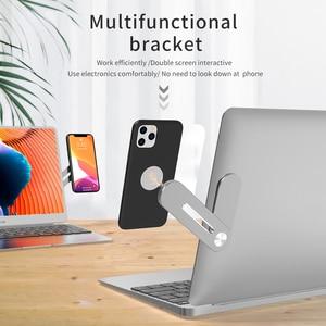 Image 1 - Многофункциональная Расширительная подставка для ноутбука для iPhone 11 Pro Max X 7 8 Plus Samsung S20, металлический держатель для телефона из алюминиевого сплава