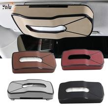 YOLU Multifunction Car Sun Visor Tissue Box Headrest Hanging Block Type PU Leather Card Holder Paper Napkin Organizer