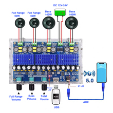 2*50W + 2*100W TPA3116D2 Bluetooth 5.0 Digital Amplifier Board Subwoofer 4 Channels TPA3116 Class D AMP