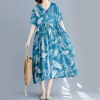 Vintage Short Sleeve Loose print Dress for Women 2020 Summer Fashion Oversize V neck Loose Cotton Linen Dress Mid calf Dress