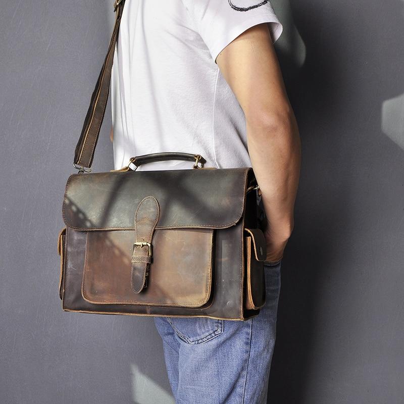 Men Original Leather Business Portfolio Best Professional Executive Lawyer Briefcase Computer Laptop Case Messenger Bag 2058-n