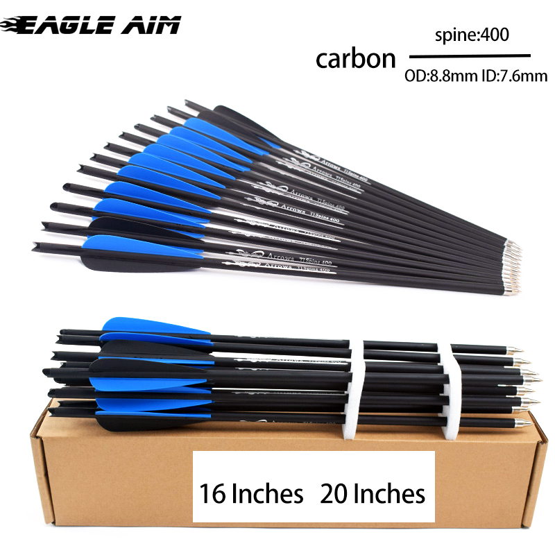 12pcs 16//20inch Carbon Shaft Arrows Spine 400 Bolts for Hunting Archery