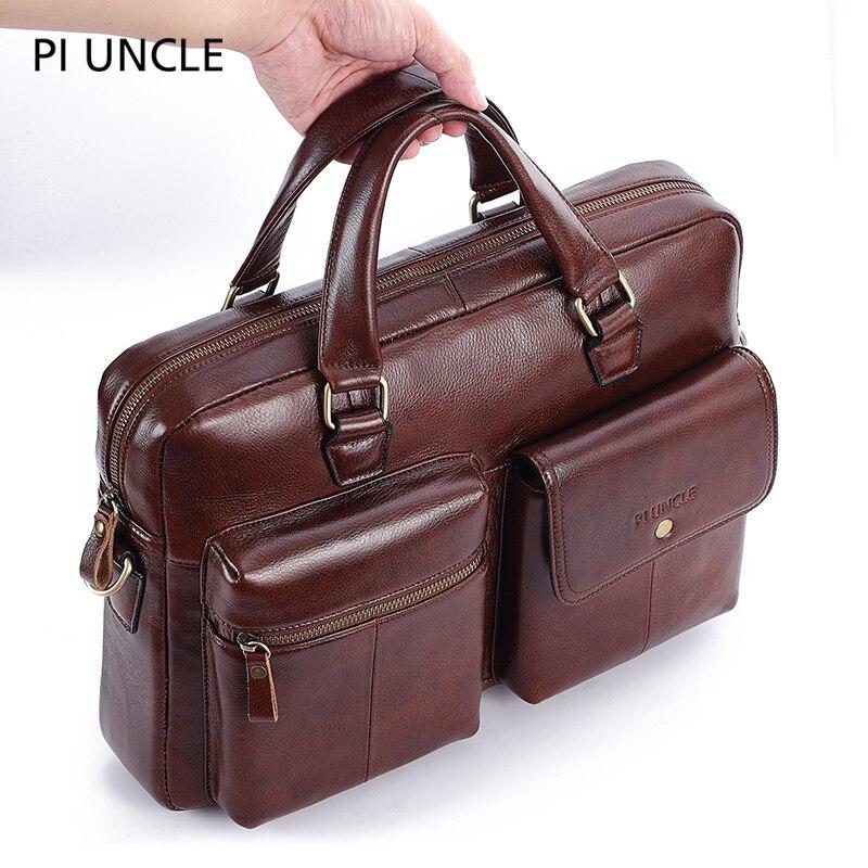 PIUNCLE Brand Genuine Leather Vintage Briefcase Messenger Bags 14inch Laptop Large Capacity Shoulder Bag Big Handbag Soft Lether