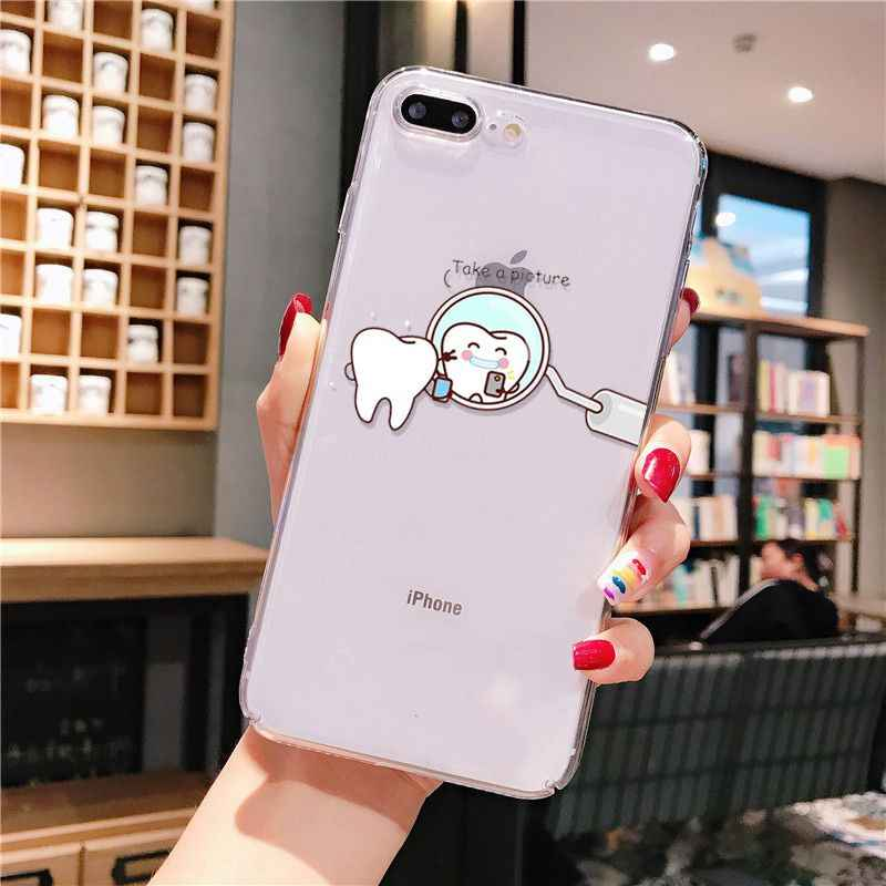Grappige Cartoon Tandarts Gekroond Tanden Diy Luxe Case Voor Iphone 11 Pro Xs Max Xr 8 7 6 6S Plus X 5 5S Se