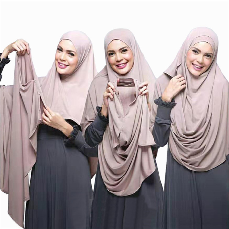 75*180cm Muslim Bubble Chiffon Double Loop Instant Hijab Femme Musulman Headwrap Islamic Headscarf Hijab Cotton Modal Shawl