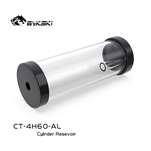 Image 4 - BYKSKI כסף 80/130/180/240mm X 60mm קוטר גלילי מים מקורר טנק אלומיניום סגסוגת קירור + אקריליק G1/4 מאגר