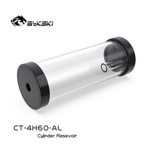 Image 4 - BYKSKI gümüş 80/130/180/240mm X 60mm çaplı silindirik su soğutmalı Tank alüminyum alaşım soğutucu + akrilik G1/4 rezervuar