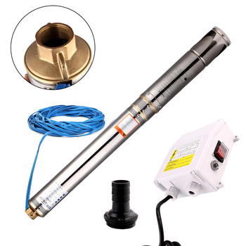 SHYLIYU 4 Inch Stainless Steel Deep Well Pump 110V 0.5Hp Submersible Water Pump Head 50m Electric Garden Bore Pump 1.25Outlet shyliyu 4 110v electric stainless steel submersible pump 1 5hp 122m deep well centrifugal impeller water pump 1 25 30m cable
