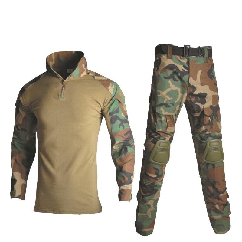 Askeri üniforma gömlek + pantolon diz dirsek pedleri açık Airsoft Paintball taktik Ghillie Suit kamuflaj avcılık giyim