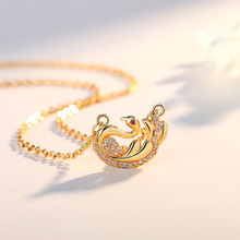 Fashion zircon little swan necklace ladies classic clavicle chain Japan and South Korea simple swan pendant silver jewelry клип кейс deppa apple iphone 5 se tpu red
