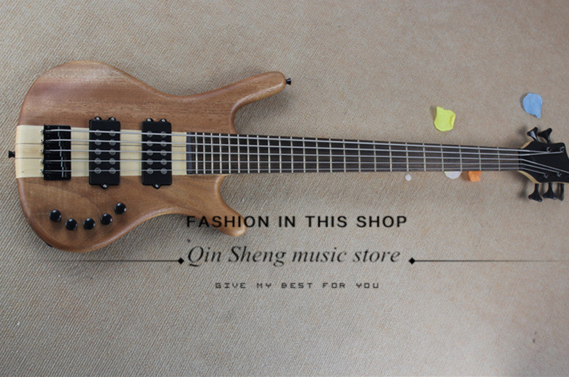 free shipping 5 strings mahogany wood electric guitar bass with maple neck through body,24 frets,black hardware