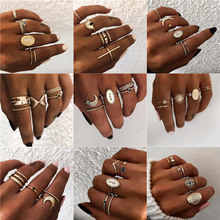 LETAPI 5Pcs/Set Finger Knuckle Black Stone Ring Boho Star Moon Rings Set For Women Statement Vintage Jewelry