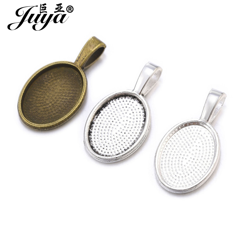 JUYA 30pcs/lot Fit 10x14mm Oval Glass Pendant Blank Settings Cabochons Bases Bezel Trays DIY Necklace Jewelry Making Accessories