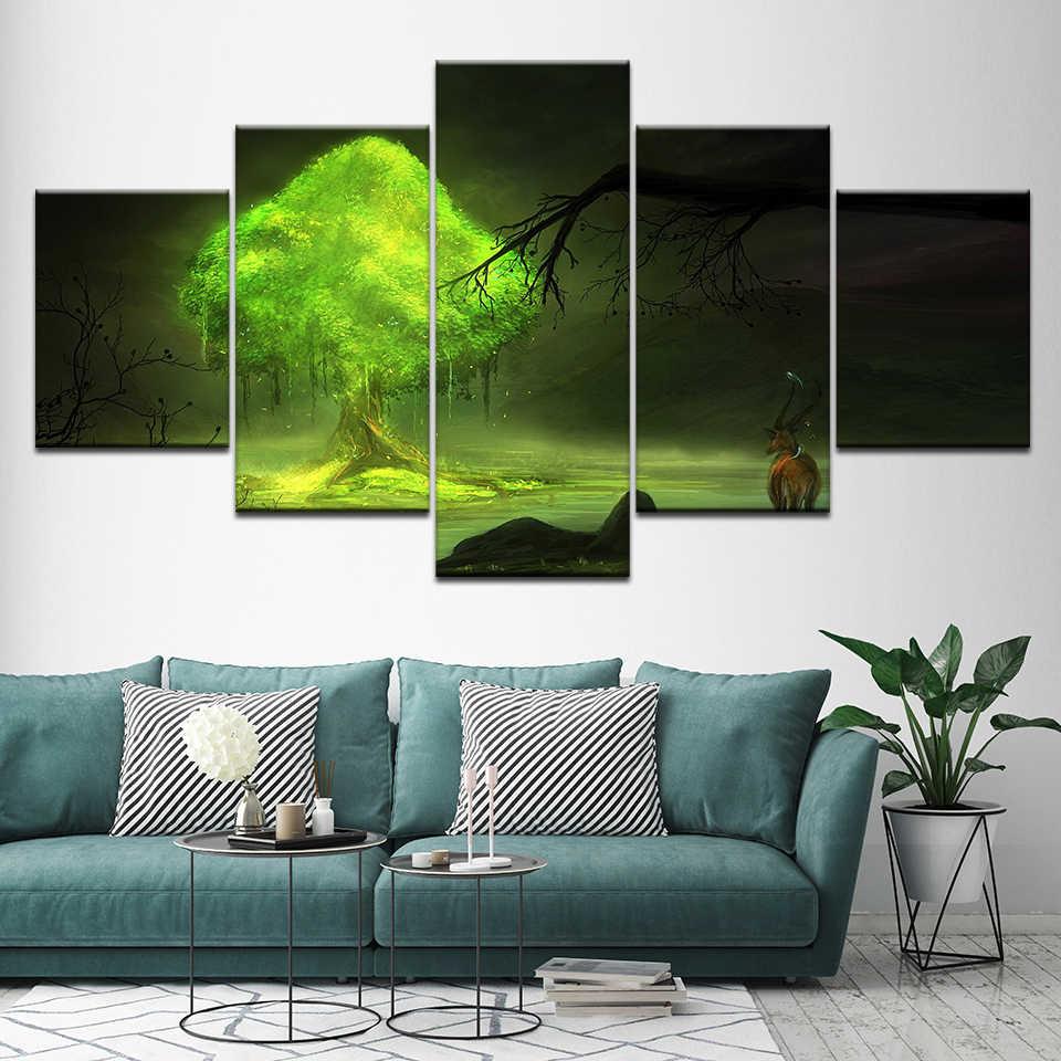 Wystrój domu modułowe plakat zdjęcia 5 sztuk jelenie w lesie z drzewa górskie w nocy obraz ścienny na płótnie drukowane salon