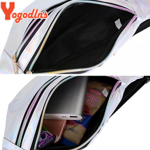 Yogodlns Fashion Glossy Laser Waist Pack with Adjustable Strap Women Sports Crossbody Bag Double Zipper Chest Bag Purse for Girl