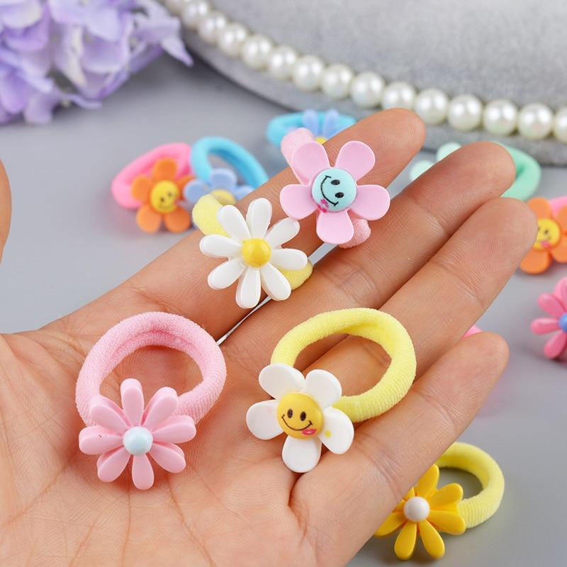 10 PCS Lovely Flower Princess Headwear Baby Headdress Girls Hair Accessories Kids Elastic Hair Bands Children Hair Ropes