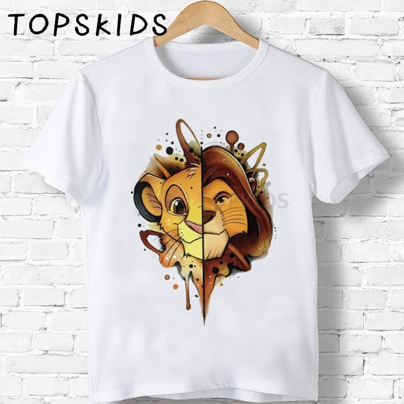 2019 Children Cute Simba Cartoon Lion King Print T-shirt Girls/Boys Funny Animal Baby Clothes Kids Summer Tshirt,HKP5315