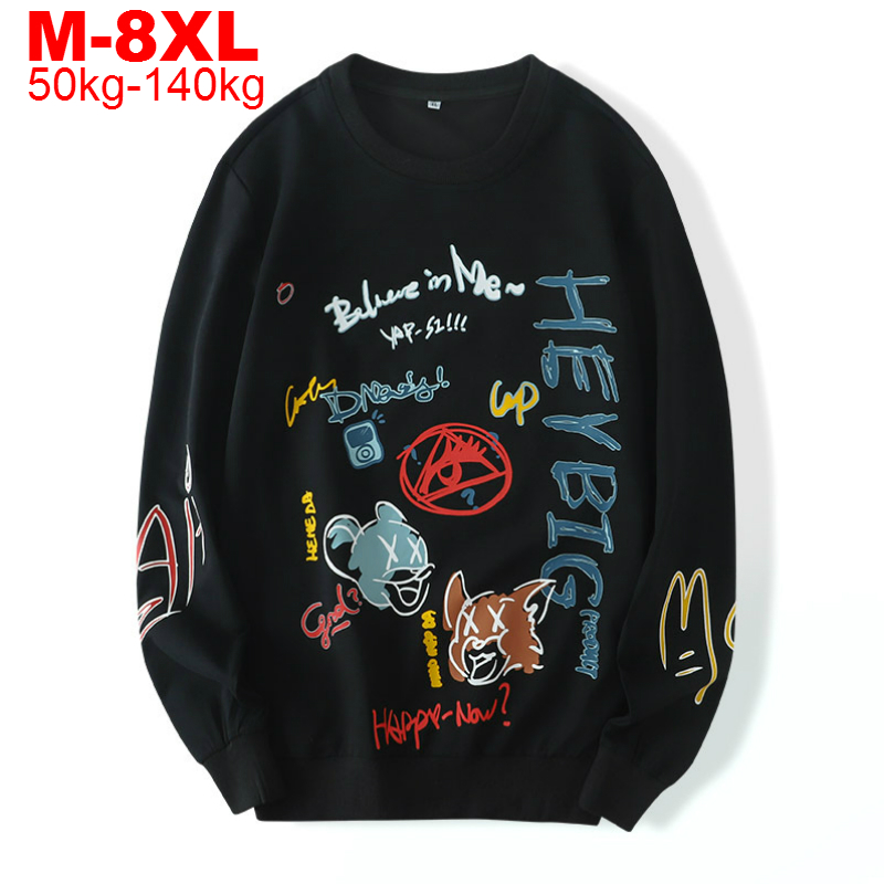 Men Oversize Sweatshirt Hoodie Autumn Hip Hop Pullovers Plus Size 8xl 7xl 6xl Mens Hoodies Japanese Streetwear Male Sweatshirts