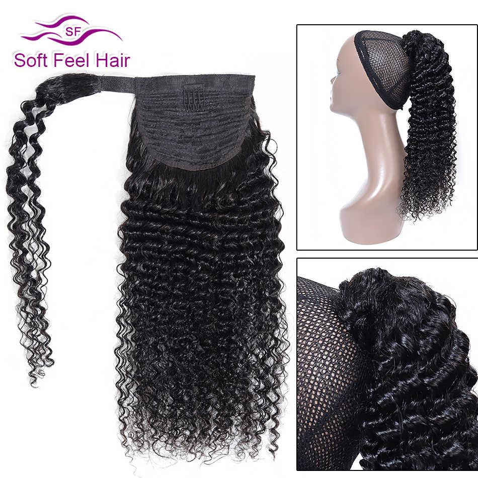 """Cabello humano de cola de caballo rizado de pelo suave para mujeres negras Remy Velcro Correa Cola de Caballo 10 """"-26"""" extensiones de cola de Pony brasileño"""