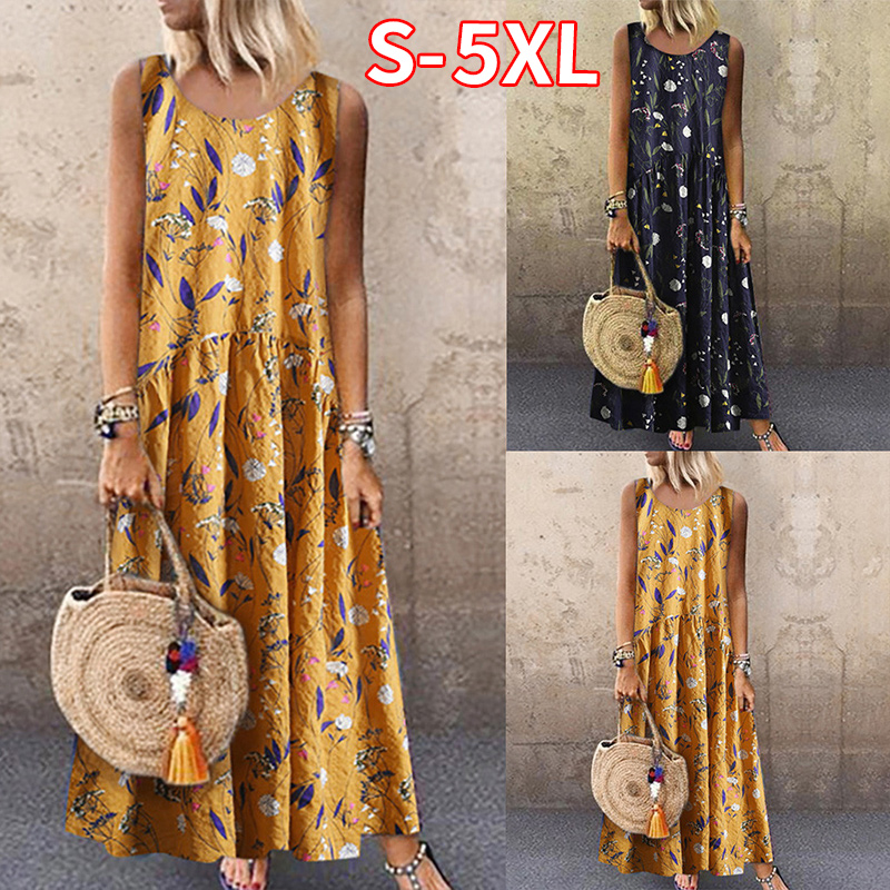 2020 Women's Dresses Plus Size Bohemian O-Neck Floral Print Dress feminine Summer <font><b>Vintage</b></font> Sleeveless Long <font><b>Maxi</b></font> Dress <font><b>vestidos</b></font> image