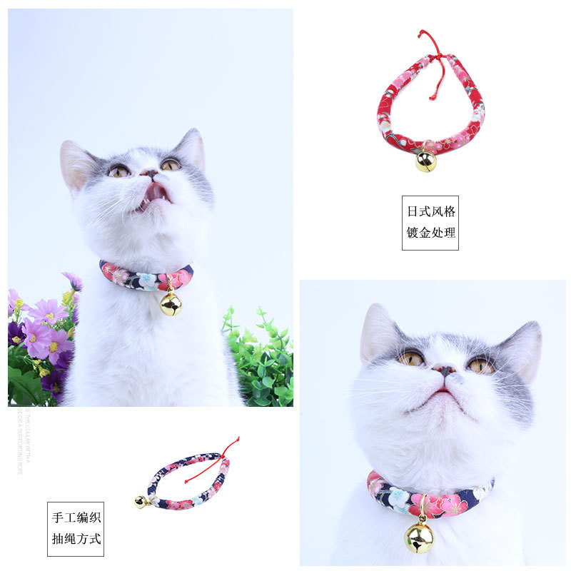 New Style Pet Cat Dogs And Cats Dog Neck Ring Bell Accessories Japanese Style And Wind Neck Ring Lucky Cat Necklace Bowtie
