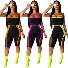 Fashion Black Mesh Patchwork See Through Rompers Slash Neck Women Jumpsuit Striped Bodysuit Party Rompers CM582 mock neck see through mesh blouse