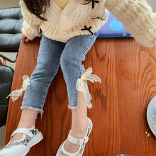 2-7T Jeans For Girls Elegant Bow Cute Denim Pants Sweet Bowknot Stretch Lovely Spring Child Trousers Toddler Kid Baby Steetwear