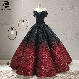 Image 3 - Świecący Gradient Ombre cekinowe sukienki Quinceanera na 15 lat suknie na bal przebierańców Off Shoulder V Neck Sweet 16 Dress