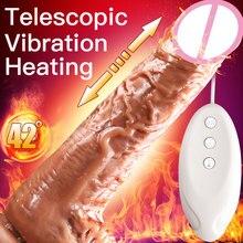 2019new automático telescópico vibrador de aquecimento vibrador g-ponto massagem enorme realista pênis vibrador brinquedos sexuais para produtos sexuais femininos