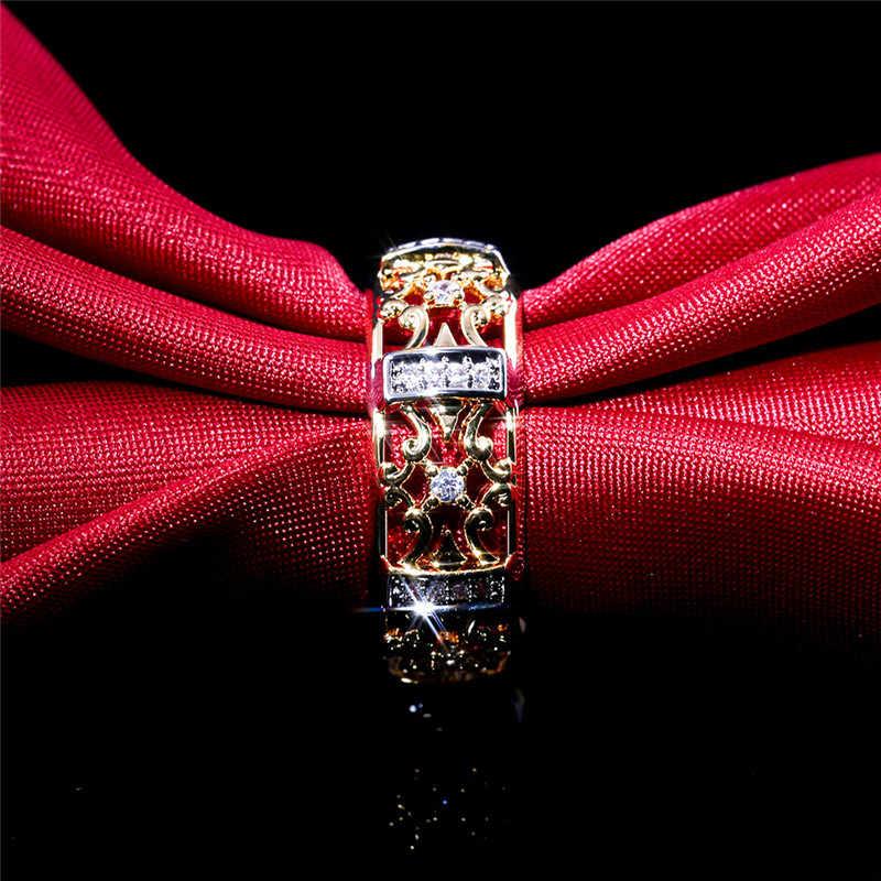 2019 فريد نمط كريستال الزركون حجر خاتم أنثى الذهب الأصفر مجوهرات الزفاف وعد الحب خواتم الخطبة للنساء
