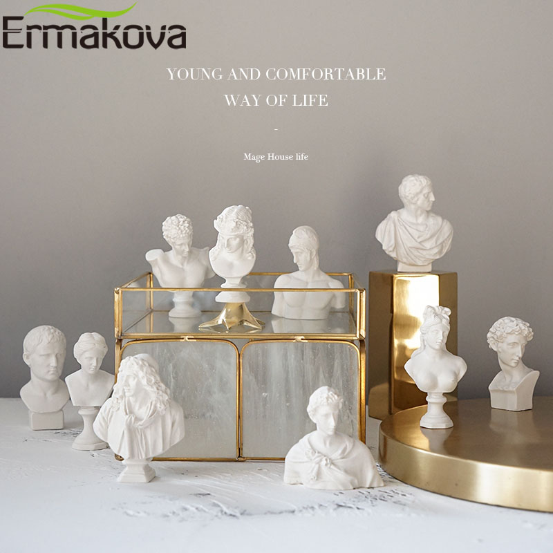 ERMAKOVA 10 Pcs/Set Different Plaster Bust Figurine Mini Ancient Greek Roman Mythology Figure Bust Sketch Statue Home Decoration