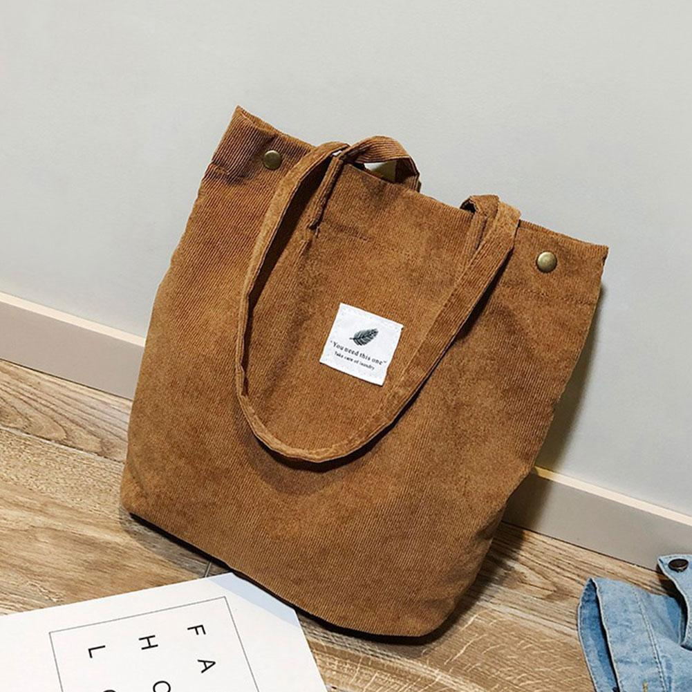 Casual Handbag For Women Bookbag Litthing Women's Solid Corduroy Shoulder Bags Shopping Bag Tote Package Crossbody Canvas Bags