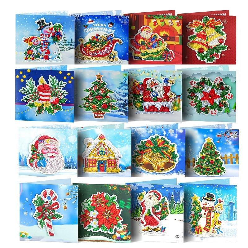 Pintura diamante cartões de natal dos desenhos animados cartões de aniversário 5d diy crianças festival bordado cumprimentar cartões presente Ponto cruz com pintura de diamante    -