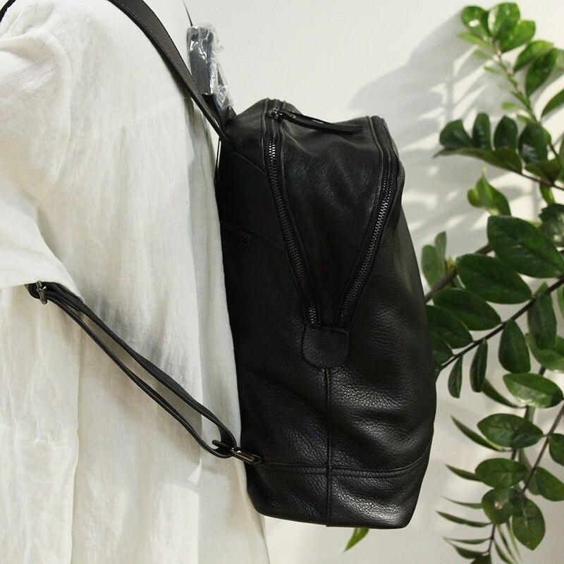 Mochila femmes sac à dos en cuir concepteur véritable cuir de vachette sac d'école dame Double fermeture éclair grande capacité Bookbag Simple sac à dos - 6
