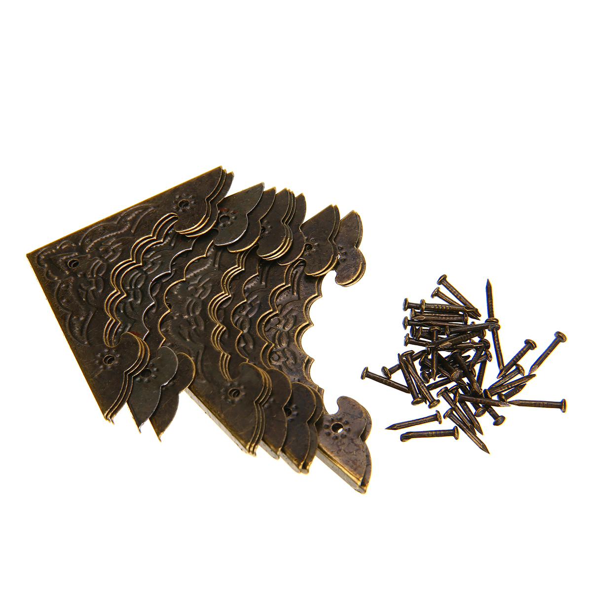 12Pcs Decorative Bat Shape Wood Case Corner Protector Antique Brass Jewelry Gift Box Corner Foot Metal Guard Corners With Screws