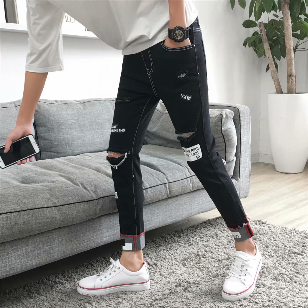 2019 Men With Holes Jeans Men's Korean-style Trend Versatile Capri Pants Beggar 9 Points Pants Men's Fashion Loose-Fit